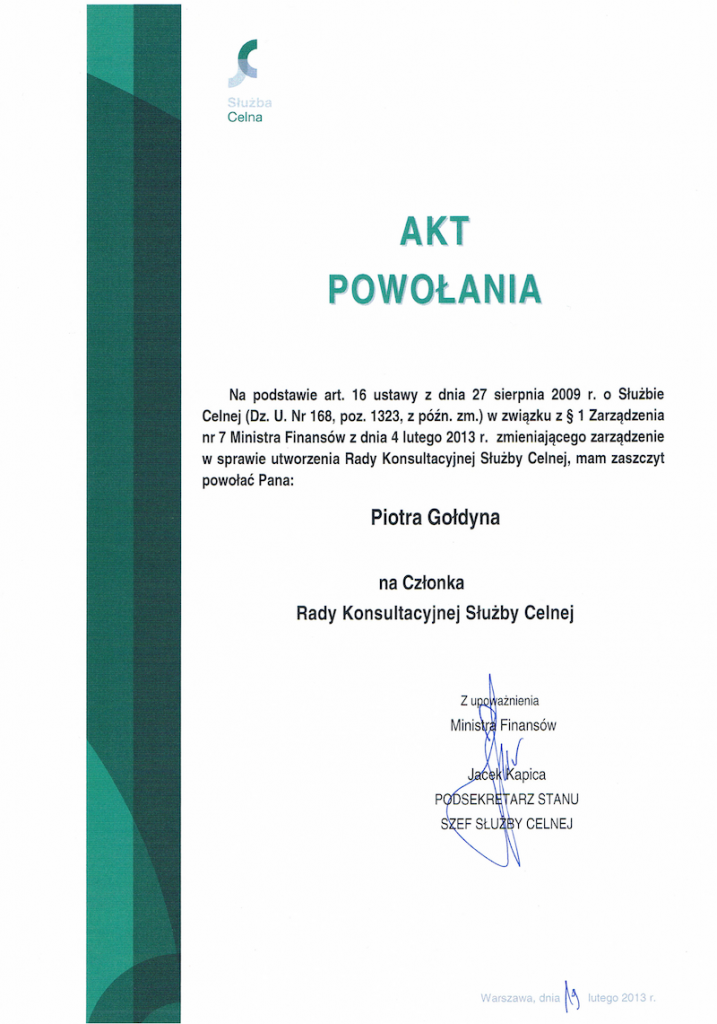 Akt powołania Piotra Gołdyna na Członka Rady Konsultacyjnej Służby Celnej